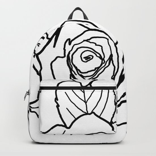 Feminine and Romantic Rose Pattern Line Work Illustration Backpack by  raylie  9eeb1e06bbf60