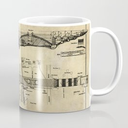 George Washington Bridge Construction Blueprint Coffee Mug