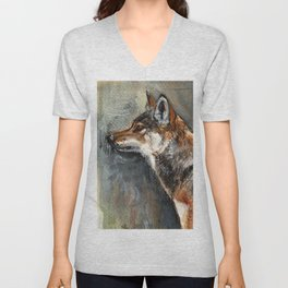 Eastern Wolf Watercolor Unisex V-Neck