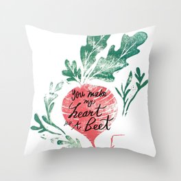 you make my heart skip a beet Throw Pillow