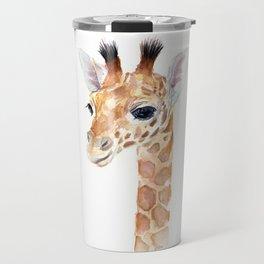 Baby Giraffe Cute Animal Watercolor Travel Mug