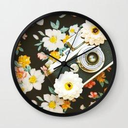 Floral Vintage Camera (Color) Wall Clock