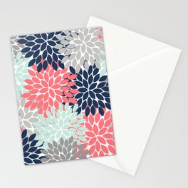 Flower Burst Petals Floral Pattern Navy Coral Mint Gray Stationery Cards
