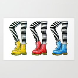 DM Style Boots Illustration   Hand Drawn Leather Boots   Yellow, Red and Blue Art Print