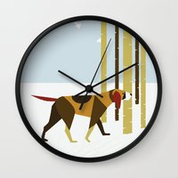 the hound Wall Clocks featuring Winter Hound by Freedom Art Inc.