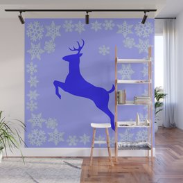 DECORATIVE LEAPING CHRISTMAS  BLUE DEER & SNOWFLAKES Wall Mural