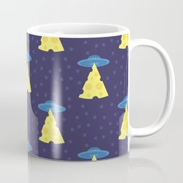 Abstract futuristic print with flying saucers, rays of light with cheese. Coffee Mug