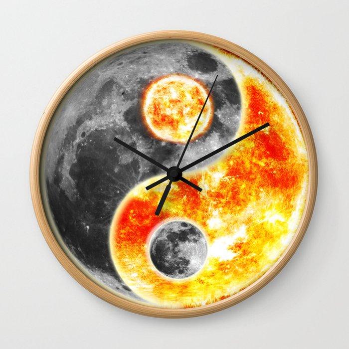 Sun Moon Day and Night Ying Yang Wall Clock