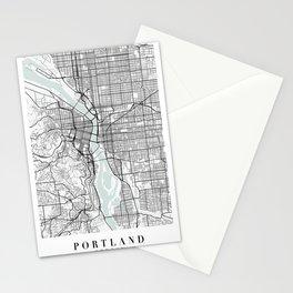 Portland Oregon Blue Water Street Map Stationery Cards