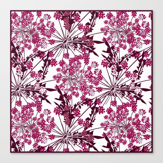 Laced crimson flowers on a white background. Canvas Print