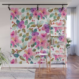 Pink and purplre florals. Watercolor flowers Wall Mural