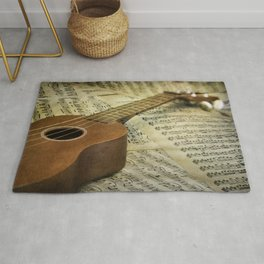 Do a Little Jig; ukulele with sheet music in the background Rug