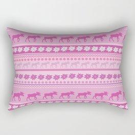 Moose Pink Pattern Rectangular Pillow