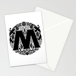 Letter M monogram wildwood Stationery Cards