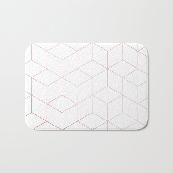 Simply Cubic in Rose Gold Sunset Bath Mat