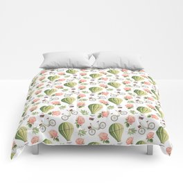 Bicycles Roses and Balloons Pattern Comforters