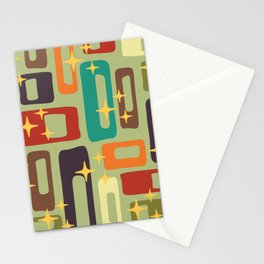 Retro Mid Century Modern Abstract Pattern 225 Stationery Cards