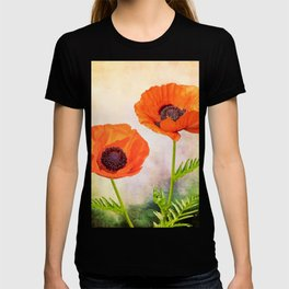 Two beautiful poppies with textures T-shirt