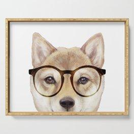 Shiba inu with glasses Dog illustration original painting print Serving Tray