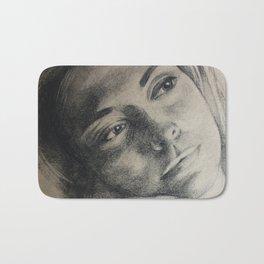 Coal portrait beautiful girl with sorrow sigth Bath Mat