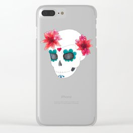 Sugar skull Lilies Clear iPhone Case