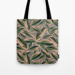 Calathea Leaves Pattern- Pink Green Gray Tote Bag