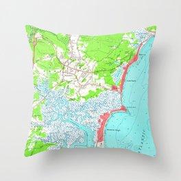 Vintage Map of Hampton Beach New Hampshire (1957) Throw Pillow
