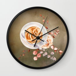 Cappuccino and Roses Wall Clock