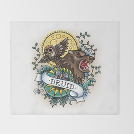Druid - Vintage D&D Tattoo Throw Blanket