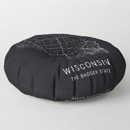 Wisconsin State Road Map Floor Pillow