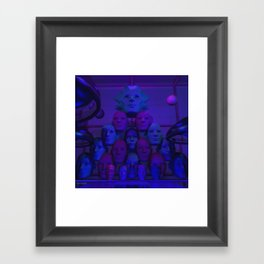 Indigo Faces Framed Art Print