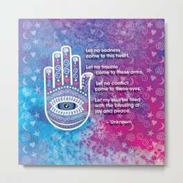 Hamsa Prayer Metal Print