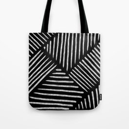 Lines and Patterns in Black and White Brush Tote Bag