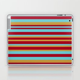 Golden, Red Wine and Turquoise Vintage Stripes Laptop & iPad Skin