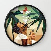 cuba Wall Clocks featuring cuba by DesignGeo