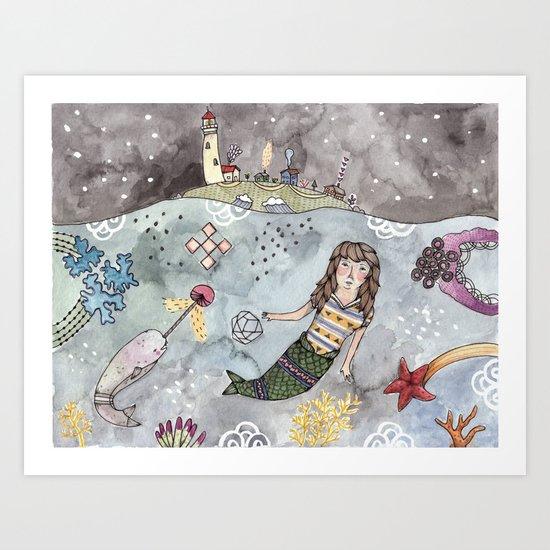 Mermaid and Narwhal Friend Art Print