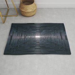 3D Abstract Tunnel With Shifting Cube Square Wallks Rug