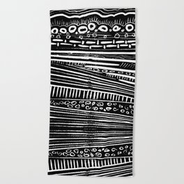 Linocut Tribal Pattern Beach Towel