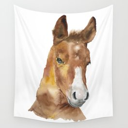 Horse Head Watercolor Wall Tapestry