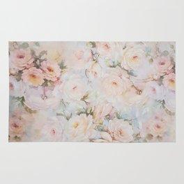 Vintage romantic blush pink ivory elegant rose floral Rug