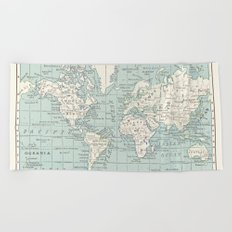 World Map in Blue and Cream Beach Towel