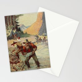 School History of the United States 1918 - Forty-niners panning for gold in California Stationery Cards