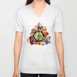 Floral Deathly Hallows - Black Unisex V-Neck