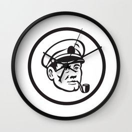 Sea Captain Smoke Pipe Circle Retro Wall Clock
