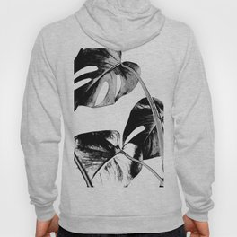 Black monstera leaves watercolor Hoody