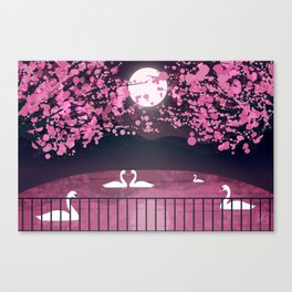 Swans and Cherry Blossoms Canvas Print