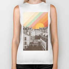 Rainbow Sky Above Paris Biker Tank