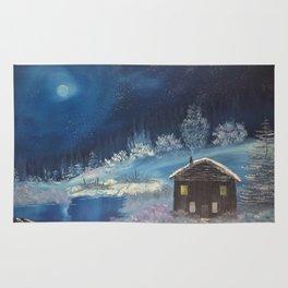 Moonlit cabin Rug