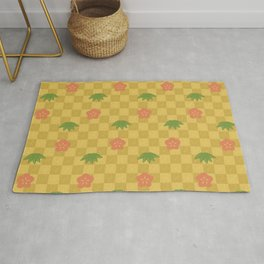 Classic Japanese Art Pattern with Plum Flower and Bamboo Leaves on Gold Checkerboard Rug
