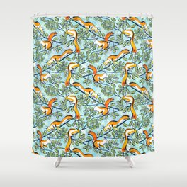 Oak Tree with Squirrels in Summer Shower Curtain